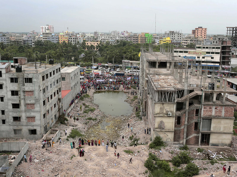 Rana Plaza collapse site in 2015