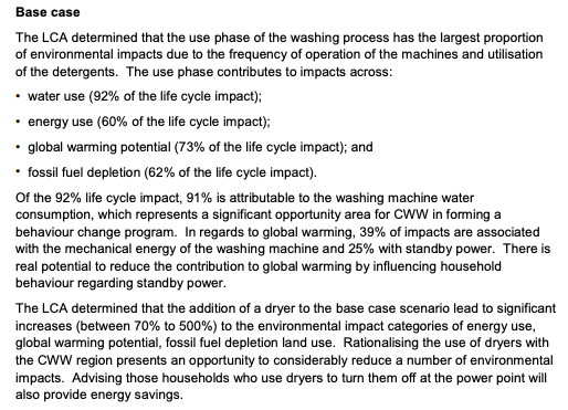 Excerpt of page 79 of Life Cycle Analysis (LCA) study of domestic clothes washing.